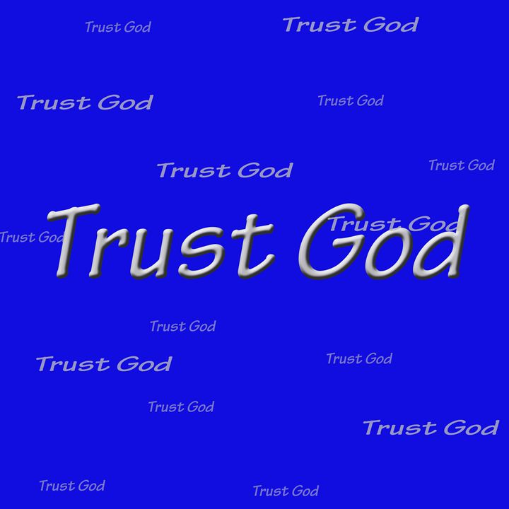 Trust God Sign in Blue and Silver - Laura Nybeck's Art