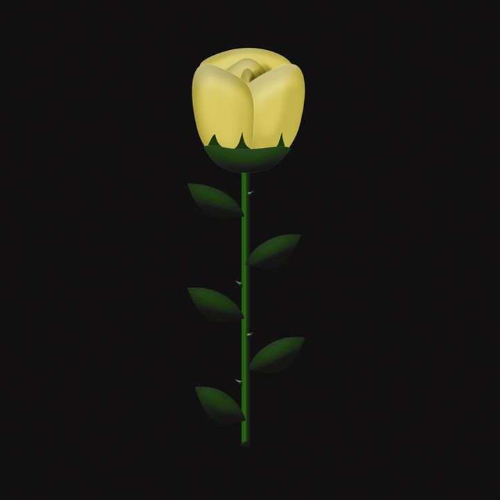 Gold Single Rose on Black - Laura Nybeck's Art