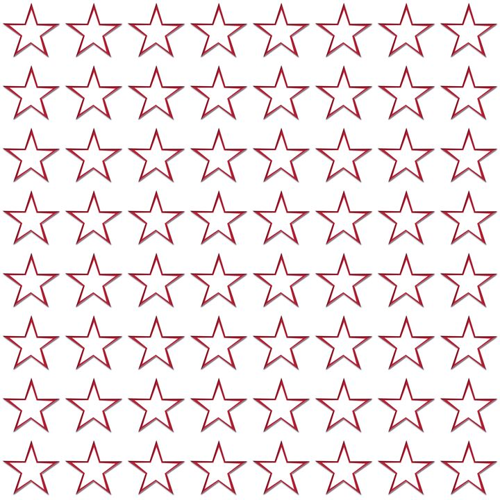 Red Outline Star Pattern on White - Laura Nybeck's Art