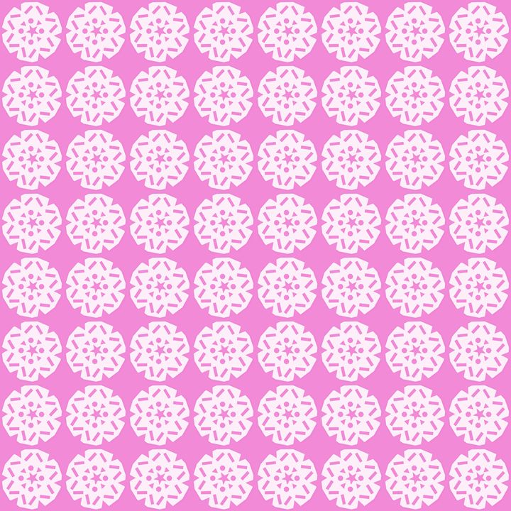White Snowflake Pattern on Pink - Laura Nybeck's Art