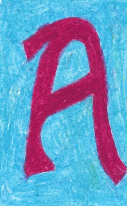 "Letter ""A"" in Red on Blue - Laura Nybeck's Art"