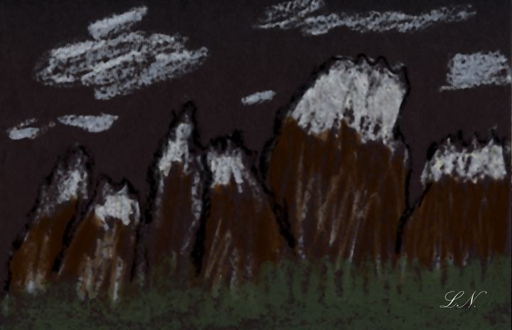 Oil Crayon Mountains on Black - Laura Nybeck's Art