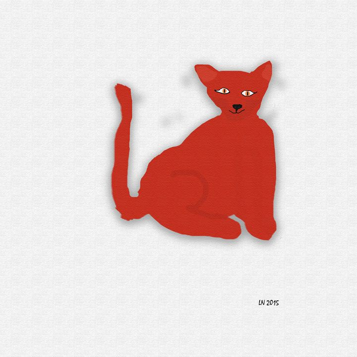 Red Cat on a White Background - Laura Nybeck's Art