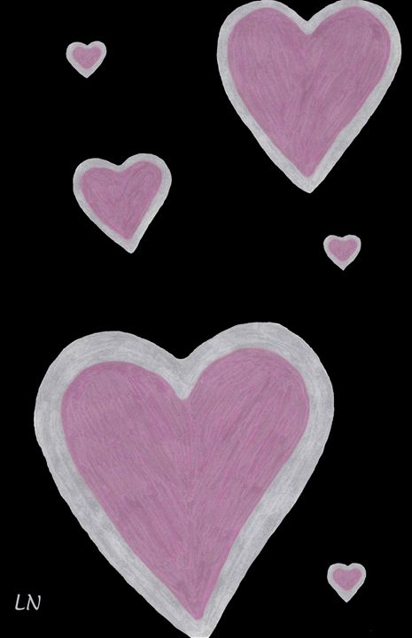 Pink Hearts on Black - Laura Nybeck's Art