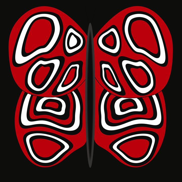 Red, White and Black Butterfly - Laura Nybeck's Art