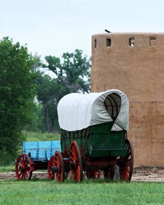 Wagons at Bent's Fort, Colorado - Catherine Sherman