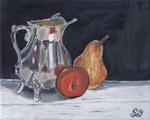 Pear and Plum with Silver Teapot