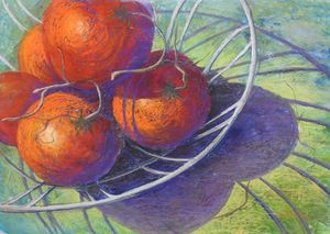Tomatoes in Wire Basket - Lindy Whitton