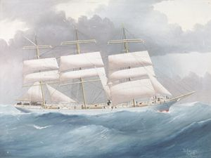 White Clipper In Rough Seas