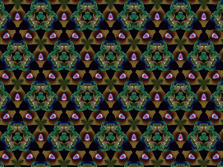 Tiling brown shapes and green shapes - Fractal art