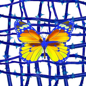 GOLDEN YELLOW BUTTERFLY IN BLUE