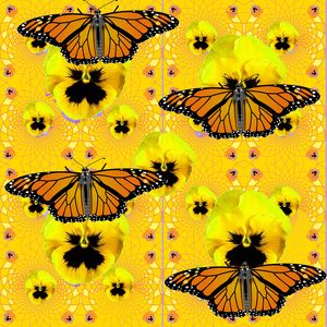 MONARCH BUTTERFLIES, YELLOW PANSY FL