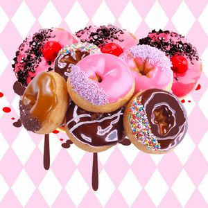 CHOCOLATE, STRAWBERRY PINK DONUTS