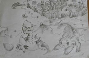cartoon sketch, dragon castle
