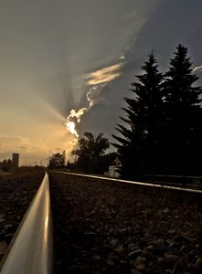 Country Train Track at dusk