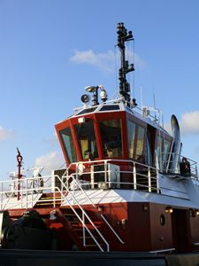 The wheel house of a tug boat at pie - Robert Brown Photography