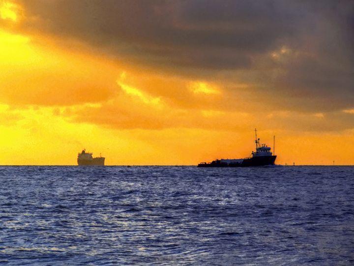Two ships on the Galveston Ship chan - Robert Brown Photography