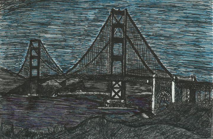 The Golden State Bridge Pen and Ink - Jakub Farmas Artwork