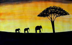 Sun Set and Elephants