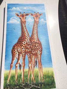 Giraffe on savanna