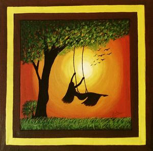 Girl swinging in the garden
