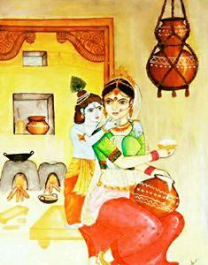 yashoda with little krishna