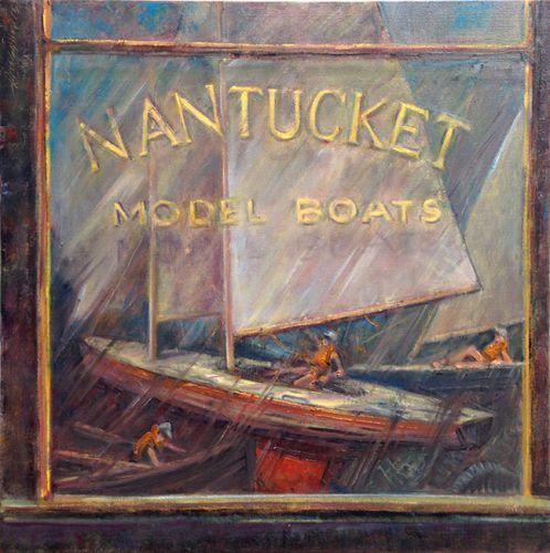 Model Boat Shop Nantucket 24x24in. - New York Art Collection   Hall Groat Sr. & II
