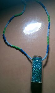 vial necklace- blue green