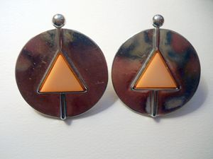 Geometric Round Silver Earrings