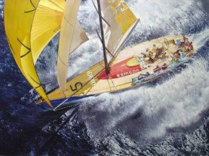 Yellow Racing Yacht