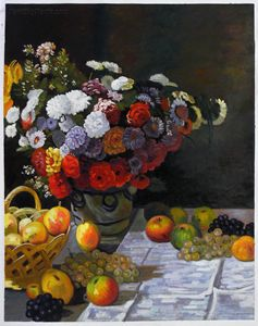 Flowers and Fruits Monet Painting