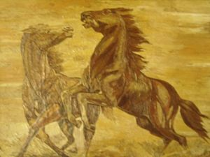 Unique PAINTING a pair of horses fro