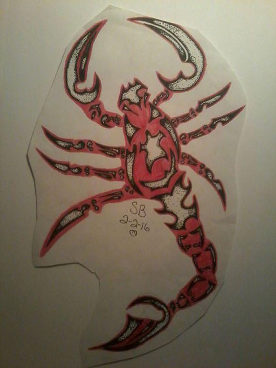 Tribal red scorpion - Sabrina's paintings