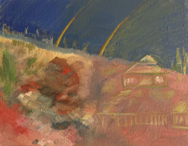 """Double Rainbow over Barn"", abstract - Panuszka's paintings"