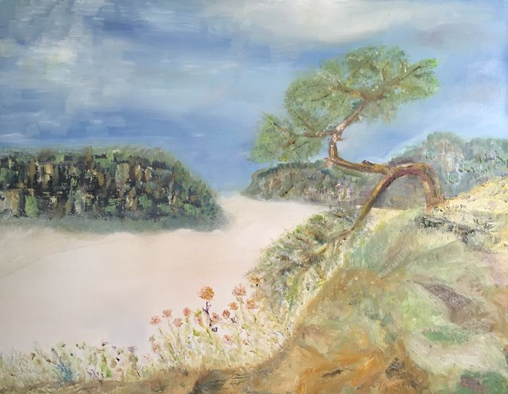 """""""Pine tree over foggy valley"""" - Panuszka's paintings"""