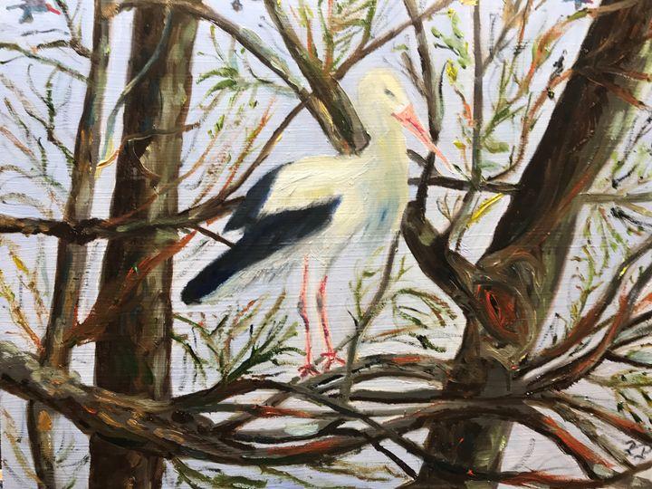 """Stork in Woods"" - Panuszka's paintings"