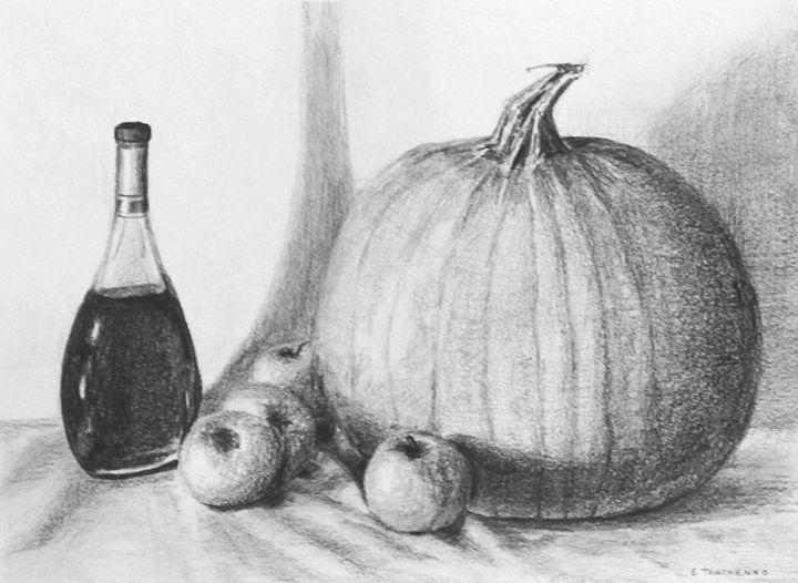 Pumpkin, Apples and a bottle - Sergei Tkachenko