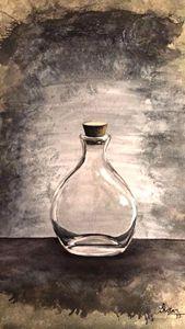 Glass bottle oil painting