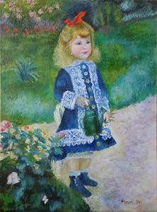 Girl with watering can(Reproduction)