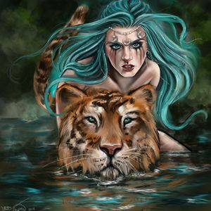 Lady moon and her Tiger