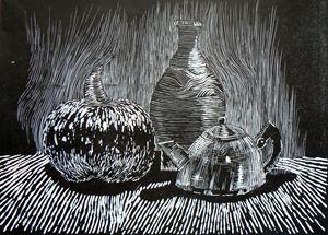 Pumpkin, vase and teapot
