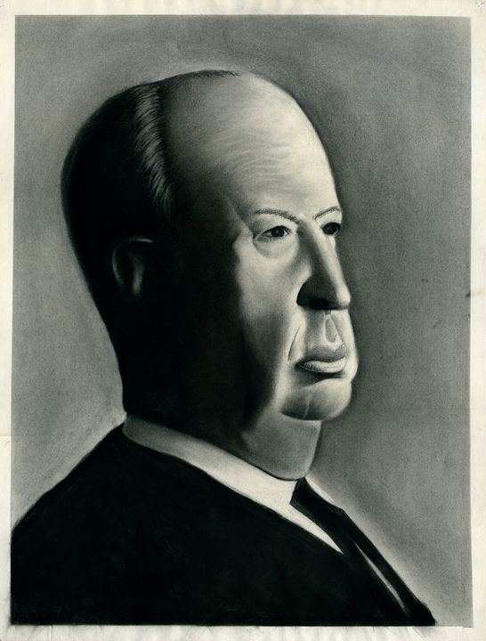 ALFRED HITCHCOCK PORTRAIT - charcoal - Horror Movie Art
