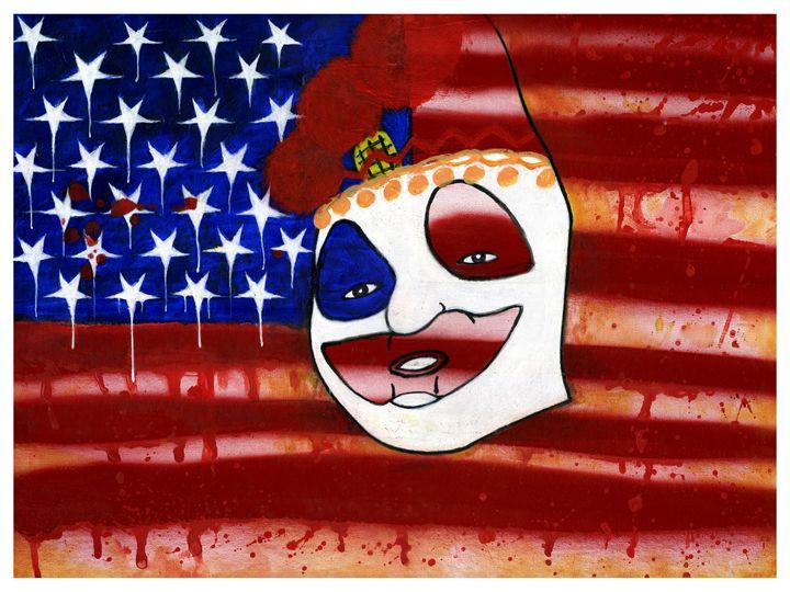 Gacy Clown with American Flag - Horror Movie Art