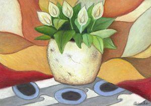 pot plant in oil pastels