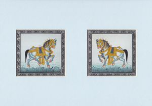 Pair of Royal Horses on silk