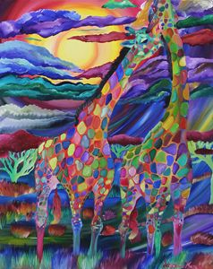 Colorful Giraffe Oil Painting