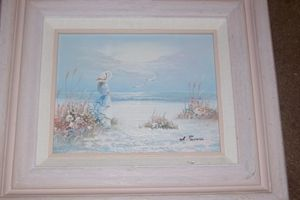 SUESS SIGNED OIL OF WOMAN AT BEACH