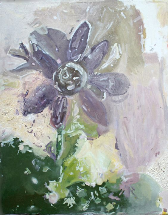 Abstract Flower Painting in Oil - Sarah Pepper