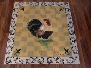 French Country Rooster with Scrolls
