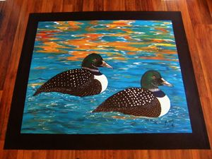 Sunset Loons Handpainted Floor Cloth